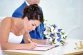 Solemn registration of newlyweds in wedding palace Royalty Free Stock Photos
