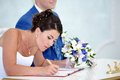 Solemn registration of newlyweds in wedding palace Stock Photography