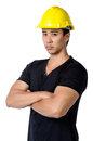 A solemn young foreman isolated portrait of Stock Photos