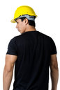 Solemn young foreman yellow hard hat Stock Photos