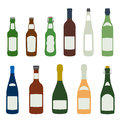 Solid colors barmen equipment set flat design alcohol bottles icons Stock Images