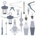 Solid colors barmen equipment set flat design instruments Stock Images