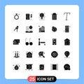 Solid Glyph Pack of 25 Universal Symbols of italic, user, idea, trash, delete Royalty Free Stock Photo