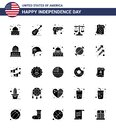 Solid Glyph Pack of 25 USA Independence Day Symbols of invitation; law; american; justice; weapon Royalty Free Stock Photo
