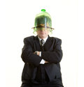 Solid man in a glass cover stubborn businessman with his head hidden that covers the face Stock Image