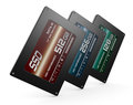 Solid state drives close up view of three with different storage capacity d render Royalty Free Stock Photos