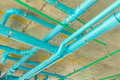 Solid waste & sanitary PVC pipeline suspension. Royalty Free Stock Photo