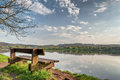 Solitary chair at lake kemnade bochum view of nordrhein westfalia germany Royalty Free Stock Photo