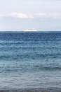 Solitary cruise ship in the ocean Royalty Free Stock Photo