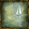 Solitary sailing boat on a grunge texture Royalty Free Stock Image