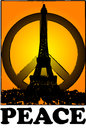 Peace and solidarity for Paris with sunset vintage Paris, france