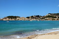 Soller beach of mallorca with boats in balearic island Royalty Free Stock Photos