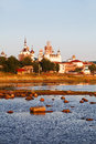 Solovetsky monastery landscape with the image of on island in white sea russia Royalty Free Stock Photo