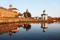 Solovetsky monastery landscape with the image of on island in white sea russia Royalty Free Stock Photography