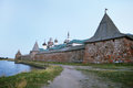 Solovetsky monastery landscape with the image of on island in white sea russia Stock Image