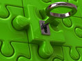 Solution concept d illustration of silver key and green puzzle Royalty Free Stock Images