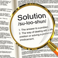 Solution Definition Magnifier Showing Achievement Vision And Suc Stock Images