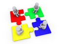 Solution with four different puzzle pieces Stock Image