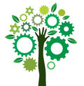 Solution gears tree vector illustration of human hand gear Stock Images