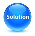 Solution glassy cyan blue round button