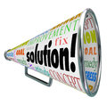 Solution megaphone bullhorn spreading answer to problem the word on a product box or spread an idea or innovation solve your or Stock Images