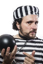 Solution, one caucasian man prisoner criminal with chain ball an Stock Photography