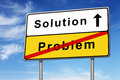 Solution problem road sign concept image blue sky Royalty Free Stock Photo