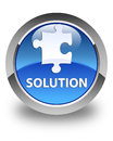 Solution (puzzle icon) glossy blue round button Royalty Free Stock Photo