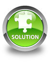Solution (puzzle icon) glossy green round button Royalty Free Stock Photo