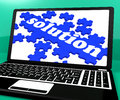 Solution Puzzle On Notebook Showing Computer Applications Royalty Free Stock Photo