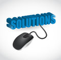 Solution sign and mouse illustration design over white Stock Photography