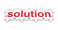 Solution word made of puzzle pieces connected to form a Royalty Free Stock Image