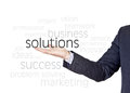 Solutions business words businessman who offers for companies Royalty Free Stock Photos