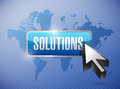 Solutions button and cursor over a world map illustration background Royalty Free Stock Photo