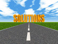 Solutions computer generated d illustration with a road and the word Royalty Free Stock Images
