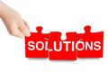 Solutions sign puzzle Royalty Free Stock Photo