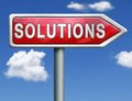 Solutions solving problem and find solution indicating way to button icon red road sign arrow Royalty Free Stock Photography