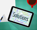 Solutions word represents solve wordcloud and resolve meaning successful words goal Stock Photos