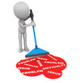 Solve problems resolving little man mopping up floor and getting rid of issues and difficulties Stock Image
