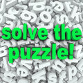Solve the puzzle word search jumble difficult letter challenge words in a background of jumbled letters to illustrate a or other Royalty Free Stock Photo