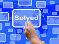 Solve touch screen shows achievement showing resolution solution and solved Royalty Free Stock Photos