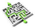Solved labyrinth with green arrow solution to the problem business success and riddle Royalty Free Stock Image