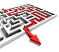 Solved labyrinth with red arrow solution to the problem business success and riddle Stock Photo