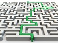 Solved maze with green arrow Royalty Free Stock Photo