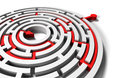 Solved round labyrinth with red arrow in goal solution to the problem business success and riddle Stock Images