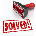 Solved stamp solution to problem challenge overcome word on illustrate a a or a that has been with good ideas determination Stock Image