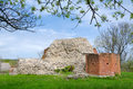 Solvesborg s castle ruins small in spring season Stock Image