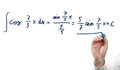 Solving integral equation isolated on white Royalty Free Stock Photo