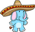 Sombrero Blue Elephant vector Royalty Free Stock Photo