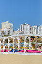 Some beds and sunloungers in beach club a Royalty Free Stock Photography